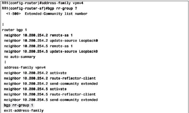 MPLS VPN BGP address-family rr-group