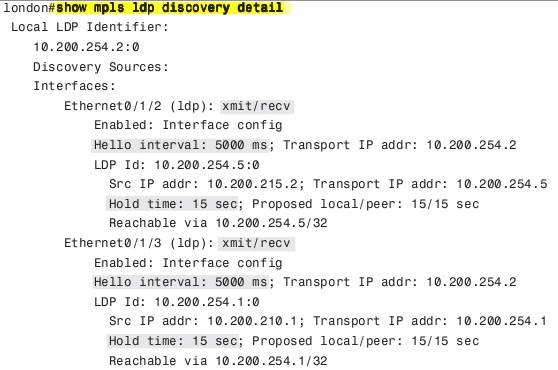 show mpls ldp discovery detail